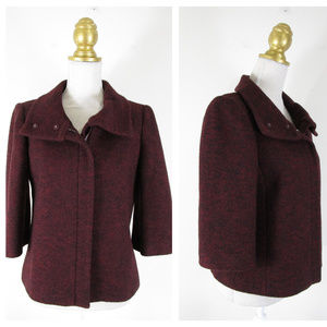 Ann Taylor Burgundy Red Wool Blazer Jacket Career